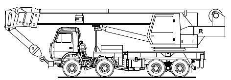 Схема (схематичное изображение) автокрана КС-55729-1 (базовое шасси КАМАЗ 6540 8х4) .